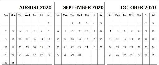 2020 August September October Calendar