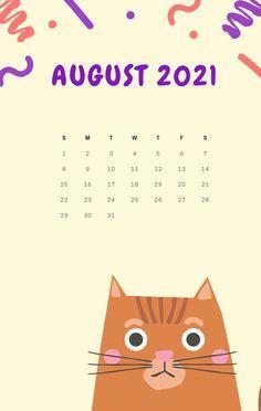 2021 August iPhone Calendar Wallpaper