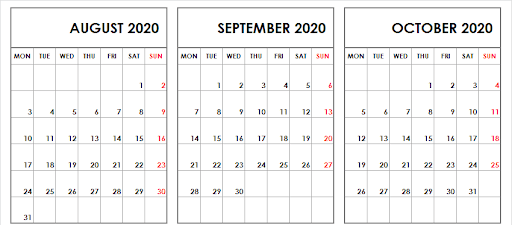 Aug Sept Oct 2020 Calendar