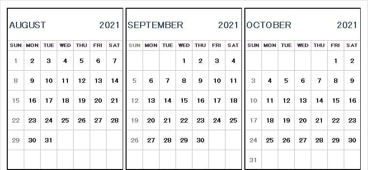 Aug Sept Oct 2021 Calendar