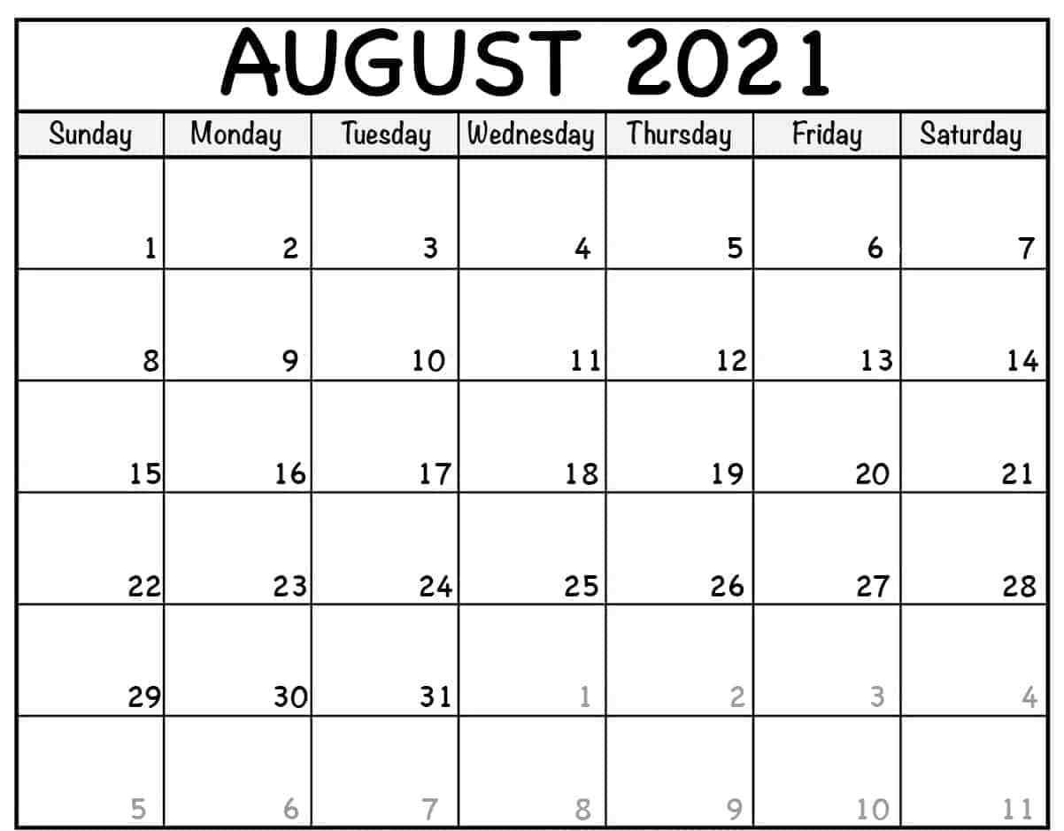 August 2021 Calendar PNG