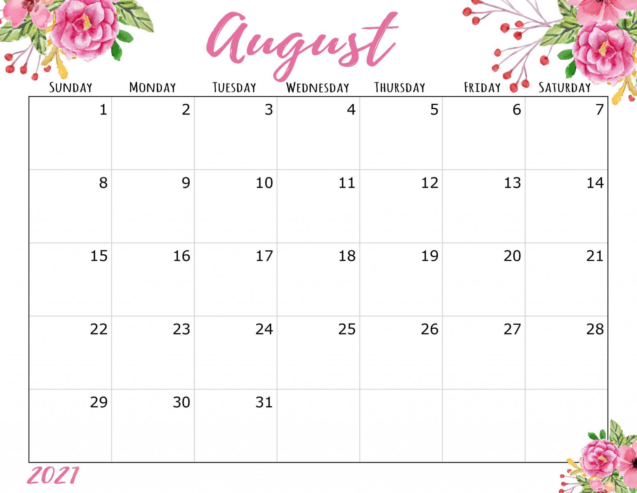 August 2021 Calendar Wall
