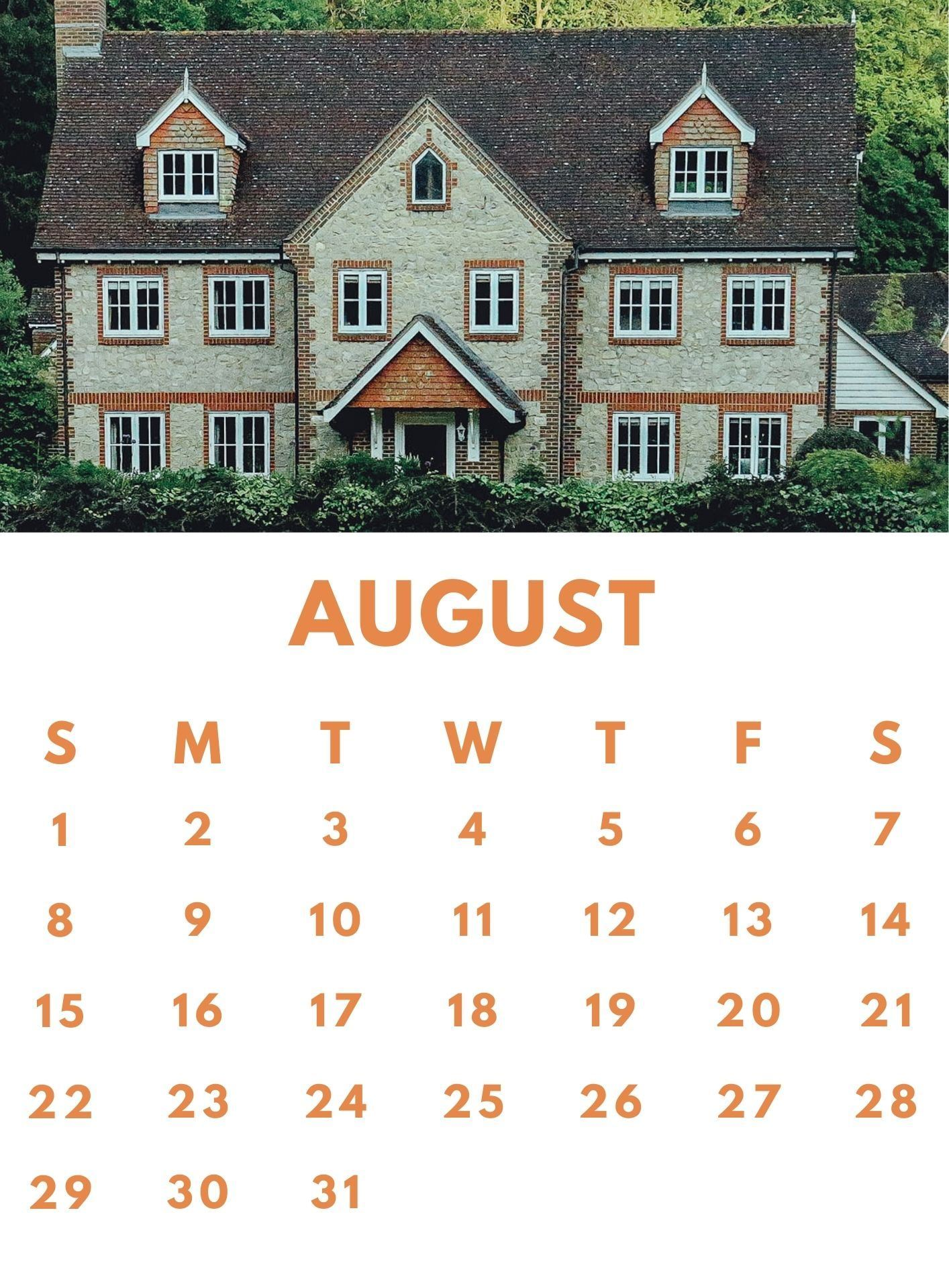 August 2021 Mobile Calendar Wallpaper