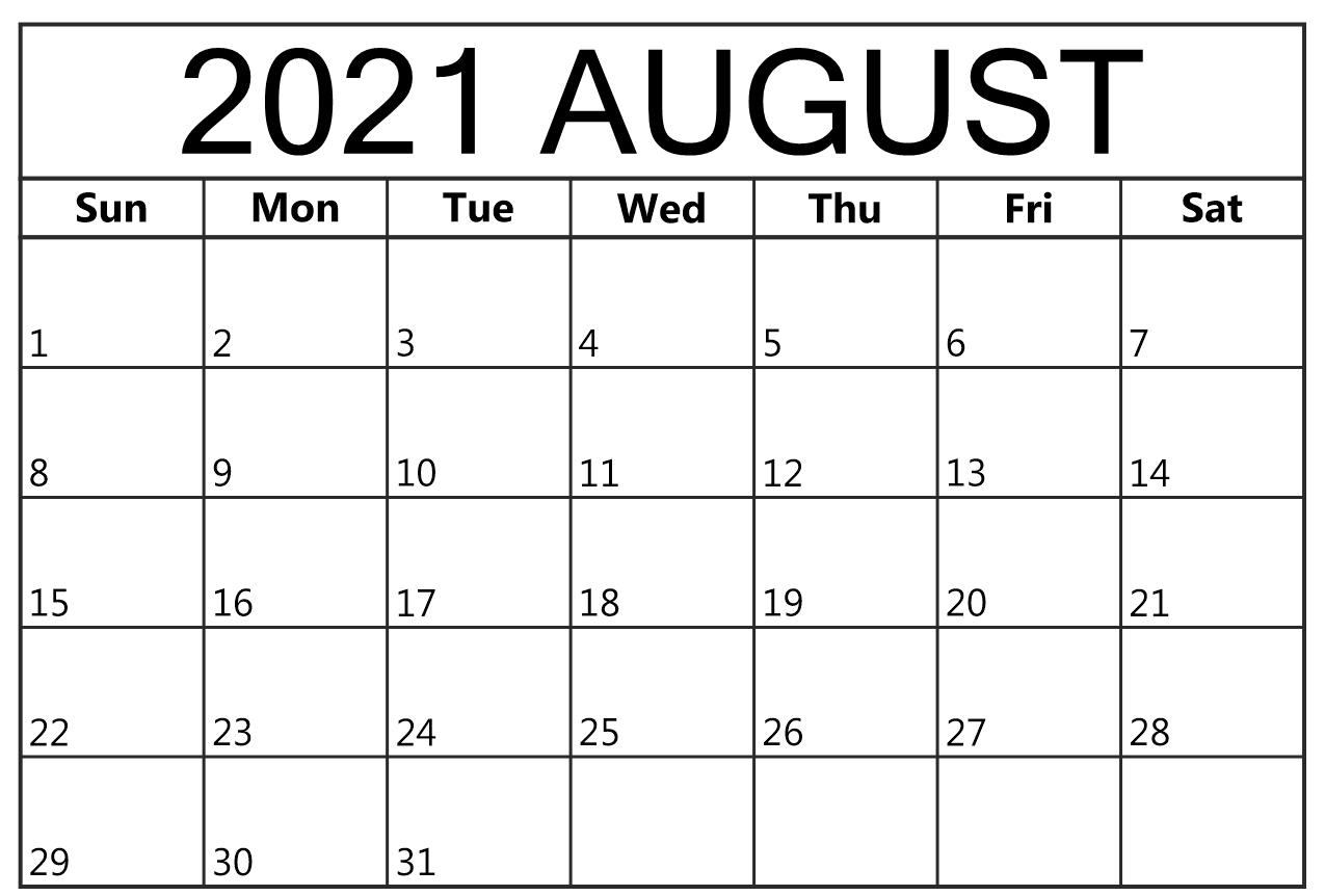 August 2021 Calendar Printable