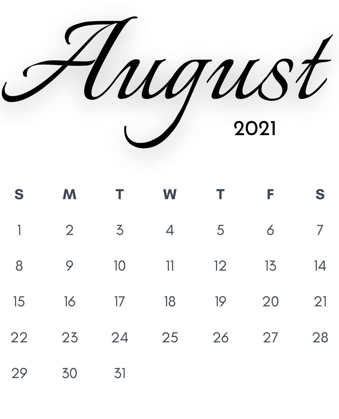 August 2021 iPhone Calendar