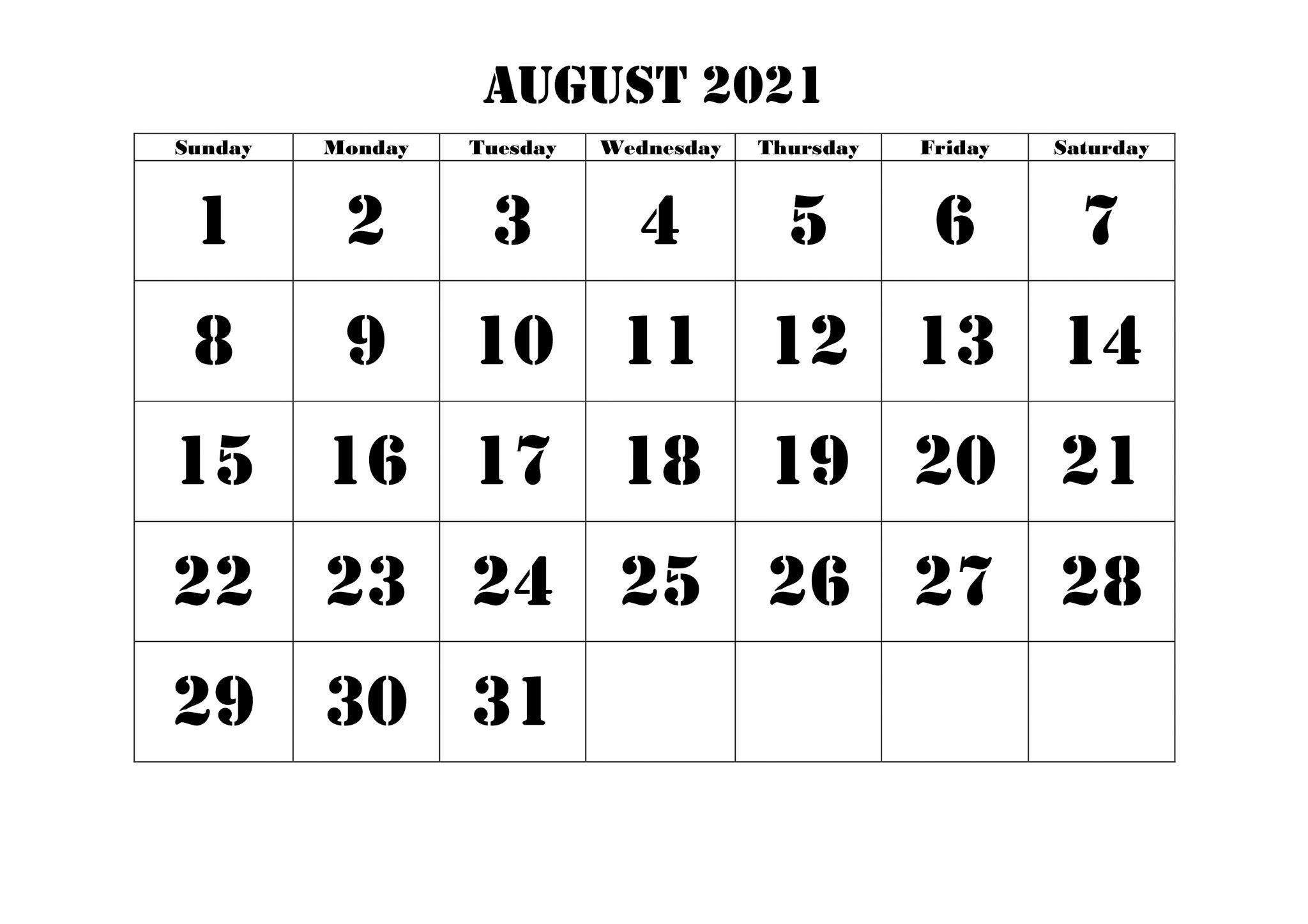 August Calendar 2021 Excel Template