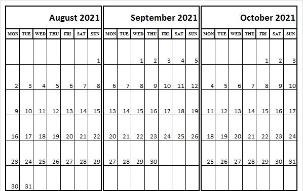 August September October 2021 Calendar