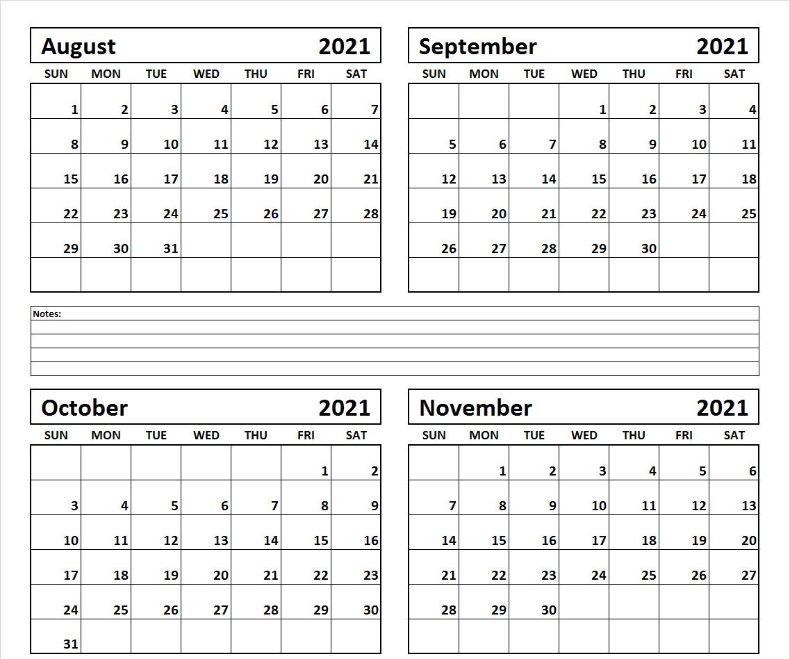 August September October Calendar 2021