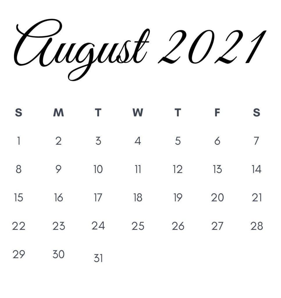 Blank August 2021 Printable Calendar