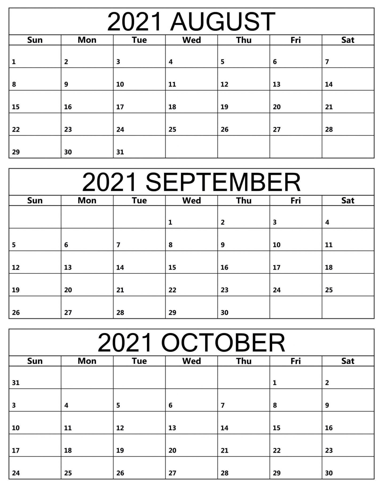 Calendar August September October 2021