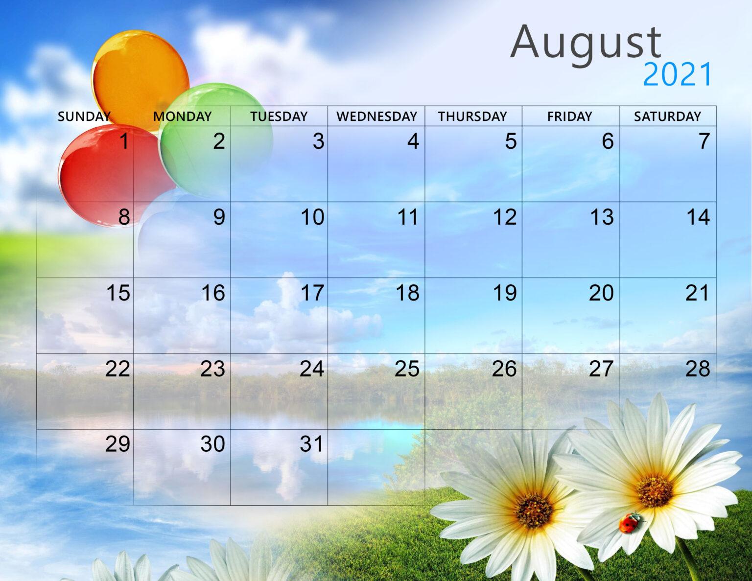Cute August 2021 Calendar Download