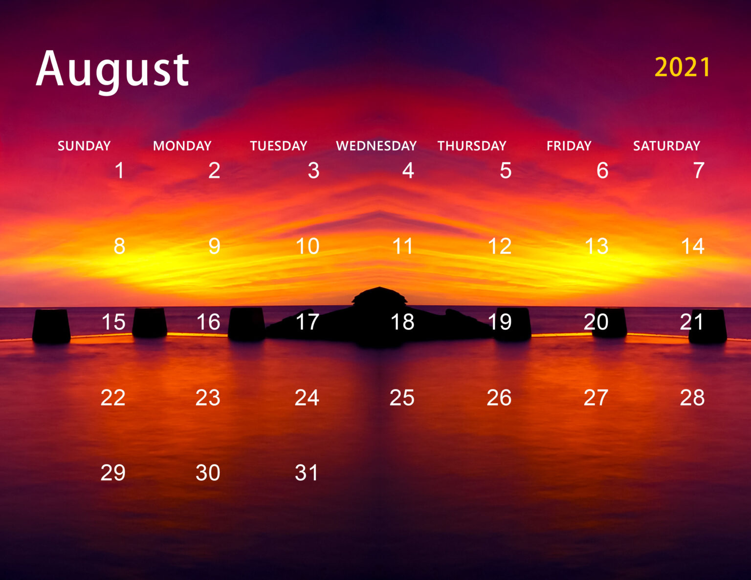 Cute August 2021 Calendar Printable