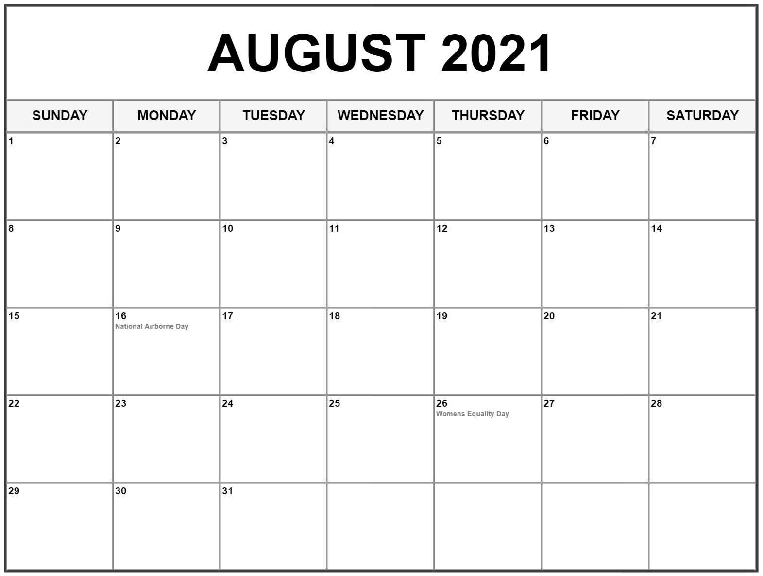 Free August 2021 Calendar Template