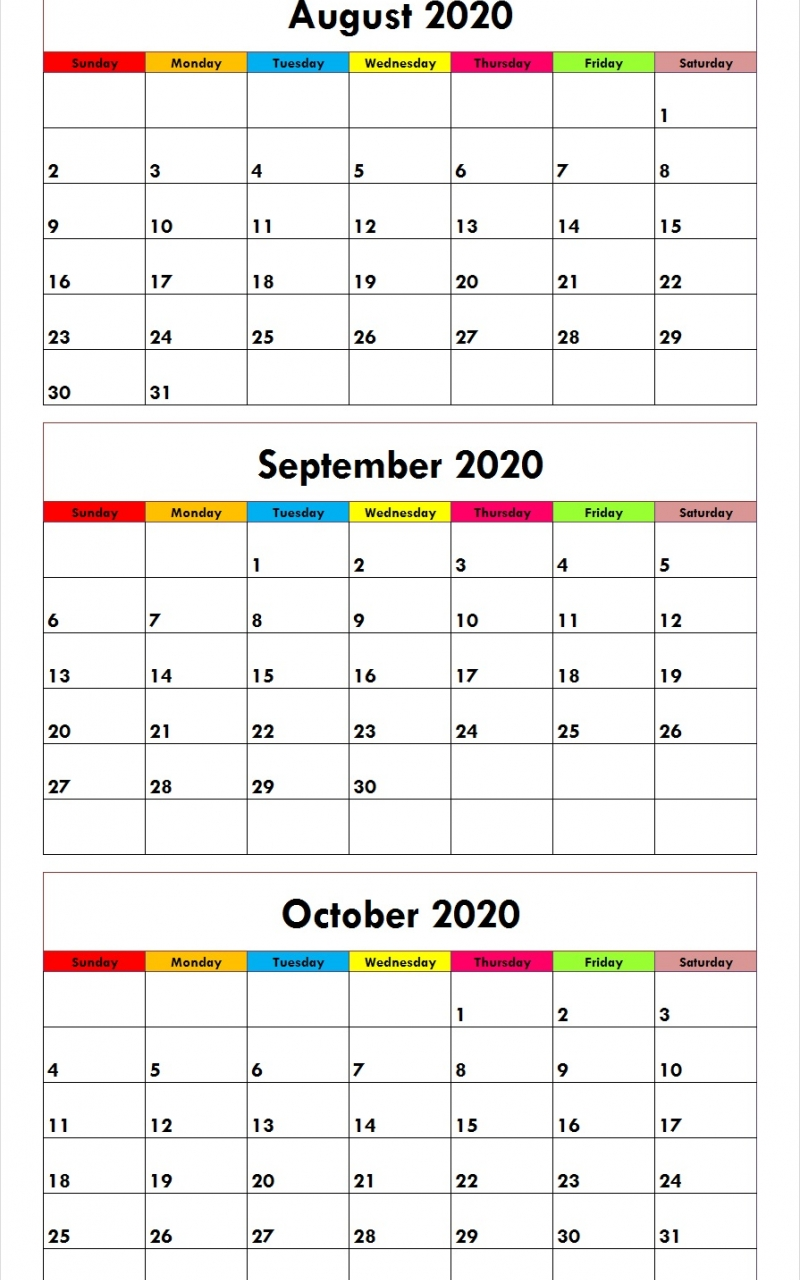 Free Printable August September October 2020 Calendar