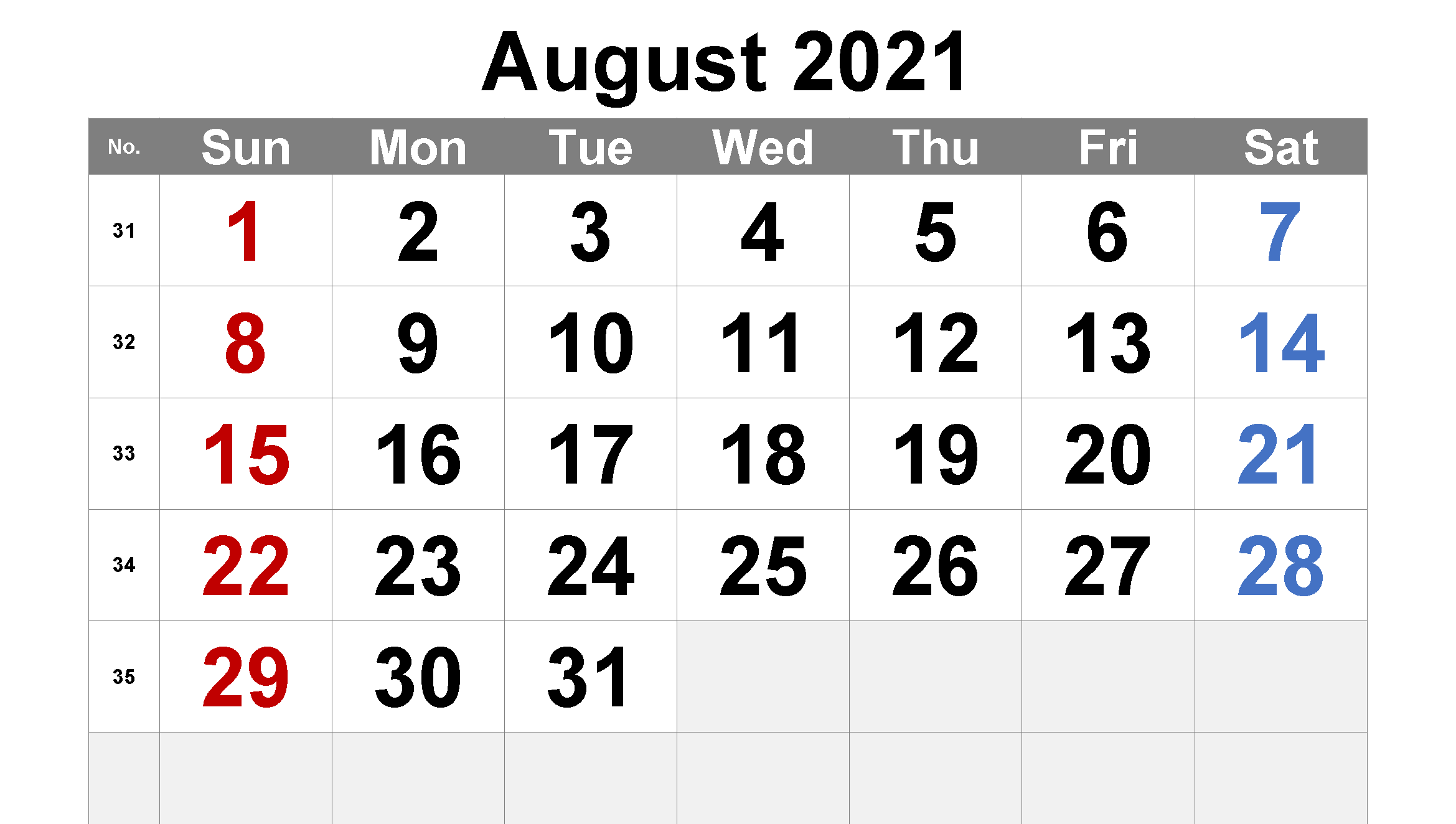 Printable August Calendar 2021