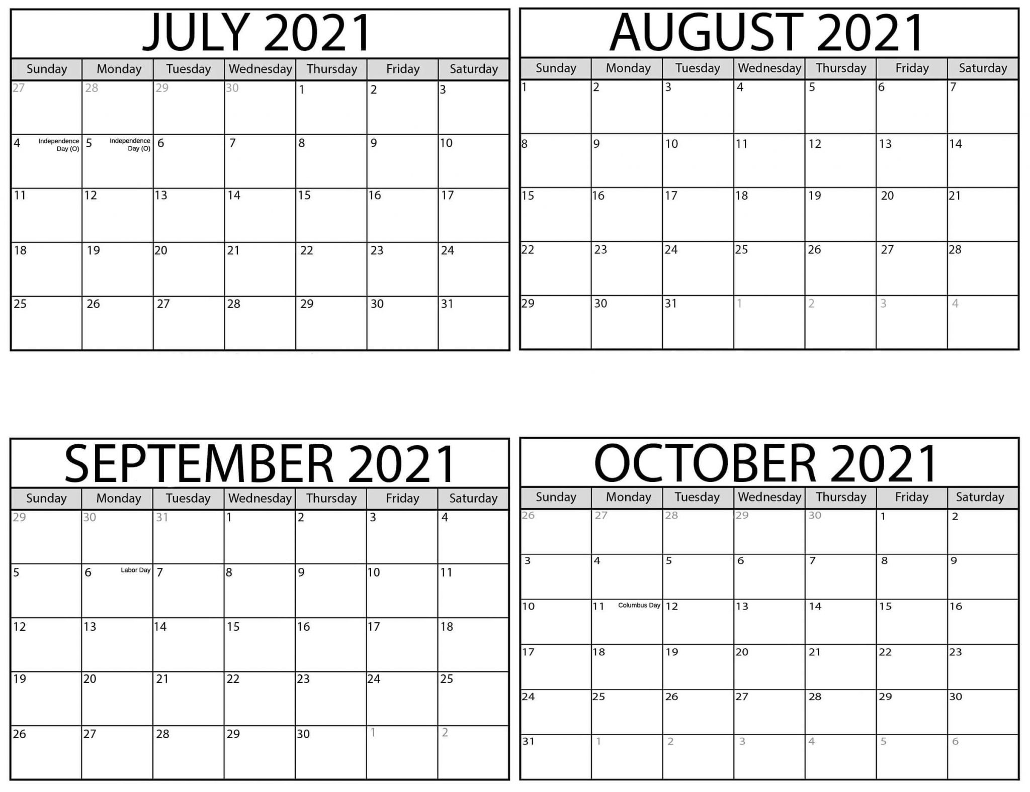 August to October 2021 Calendar Printable