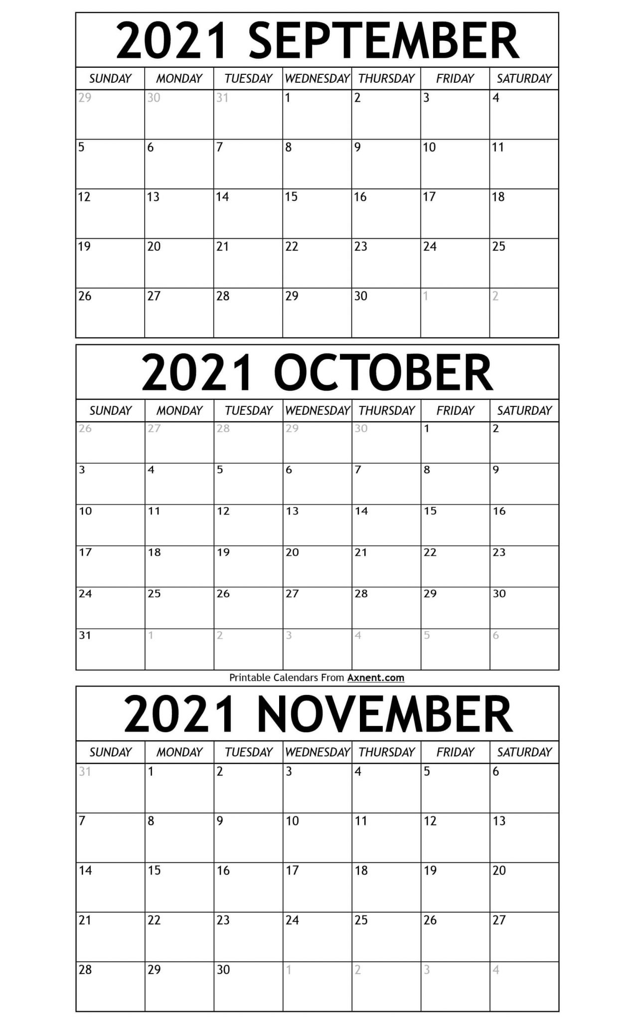 Printable September To November 2021 Calendar