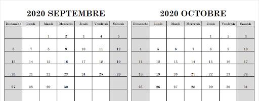Blanc Modèle Calendrier Septembre Octobre 2020