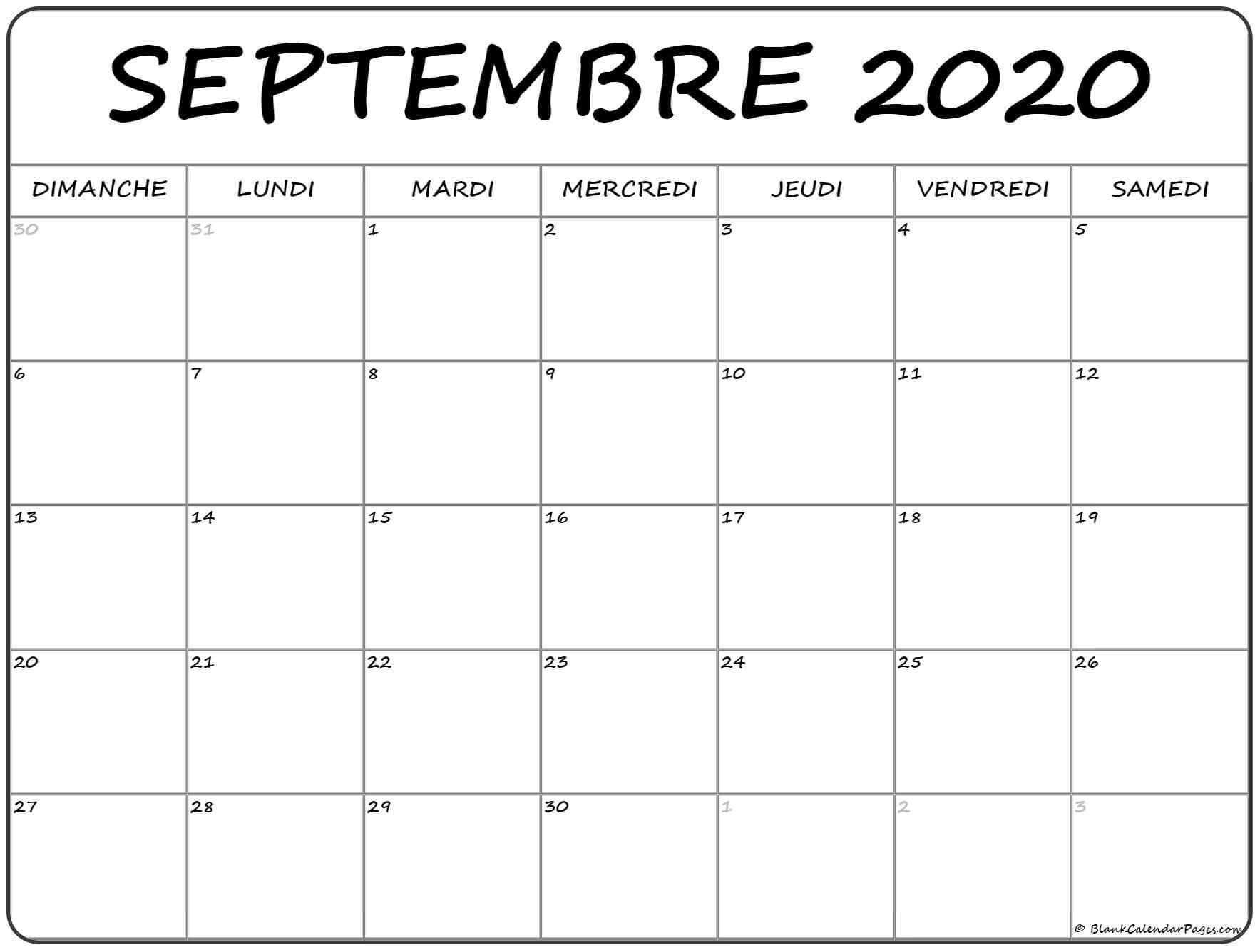 Calendrier Mensuel Septembre 2020