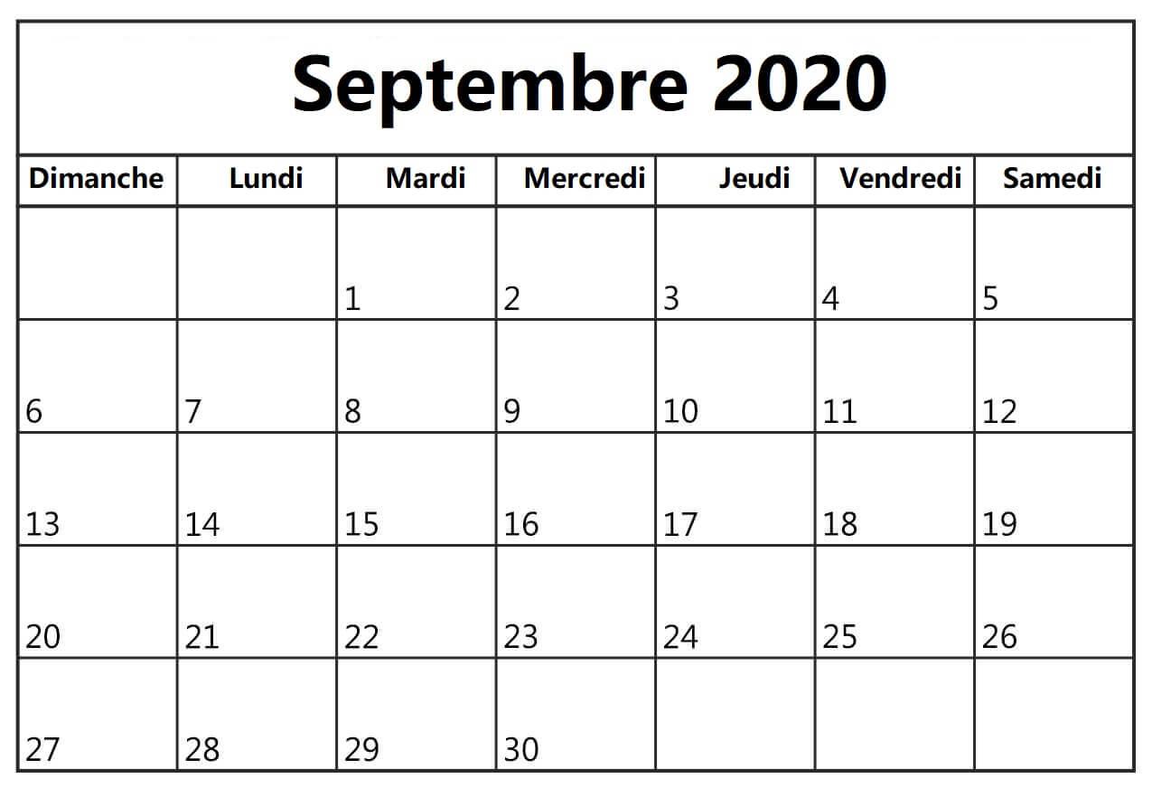 Calendrier Septembre 2020 A Aout