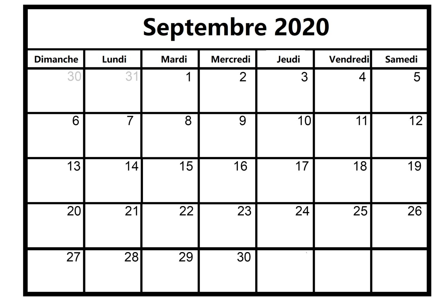 Calendrier Septembre 2020 Grossesse