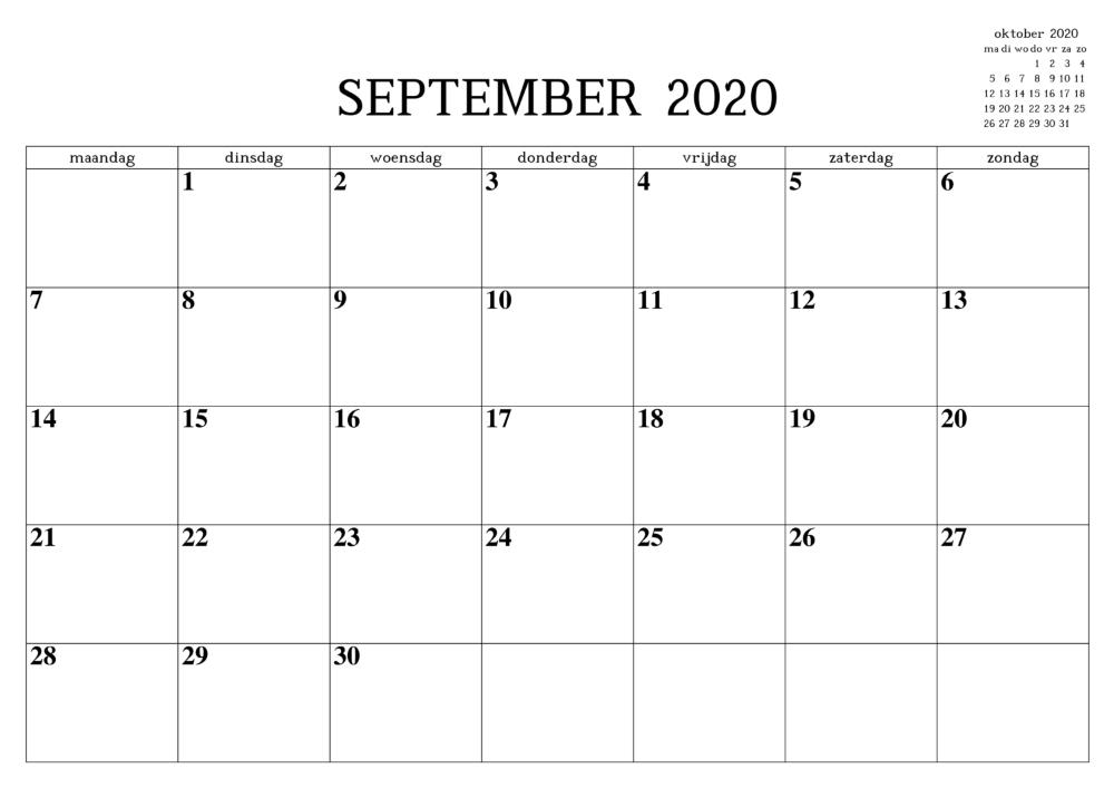 Kalender September 2020 Zum Ausdrucken