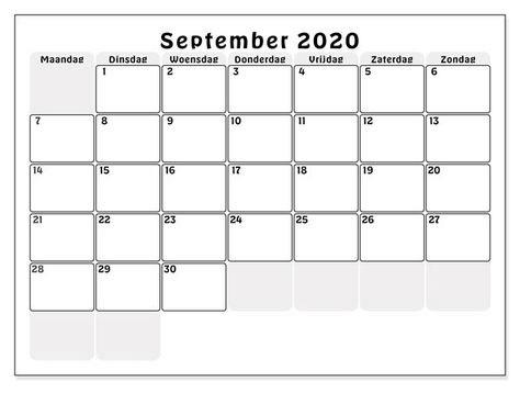 Leer Kalender September 2020