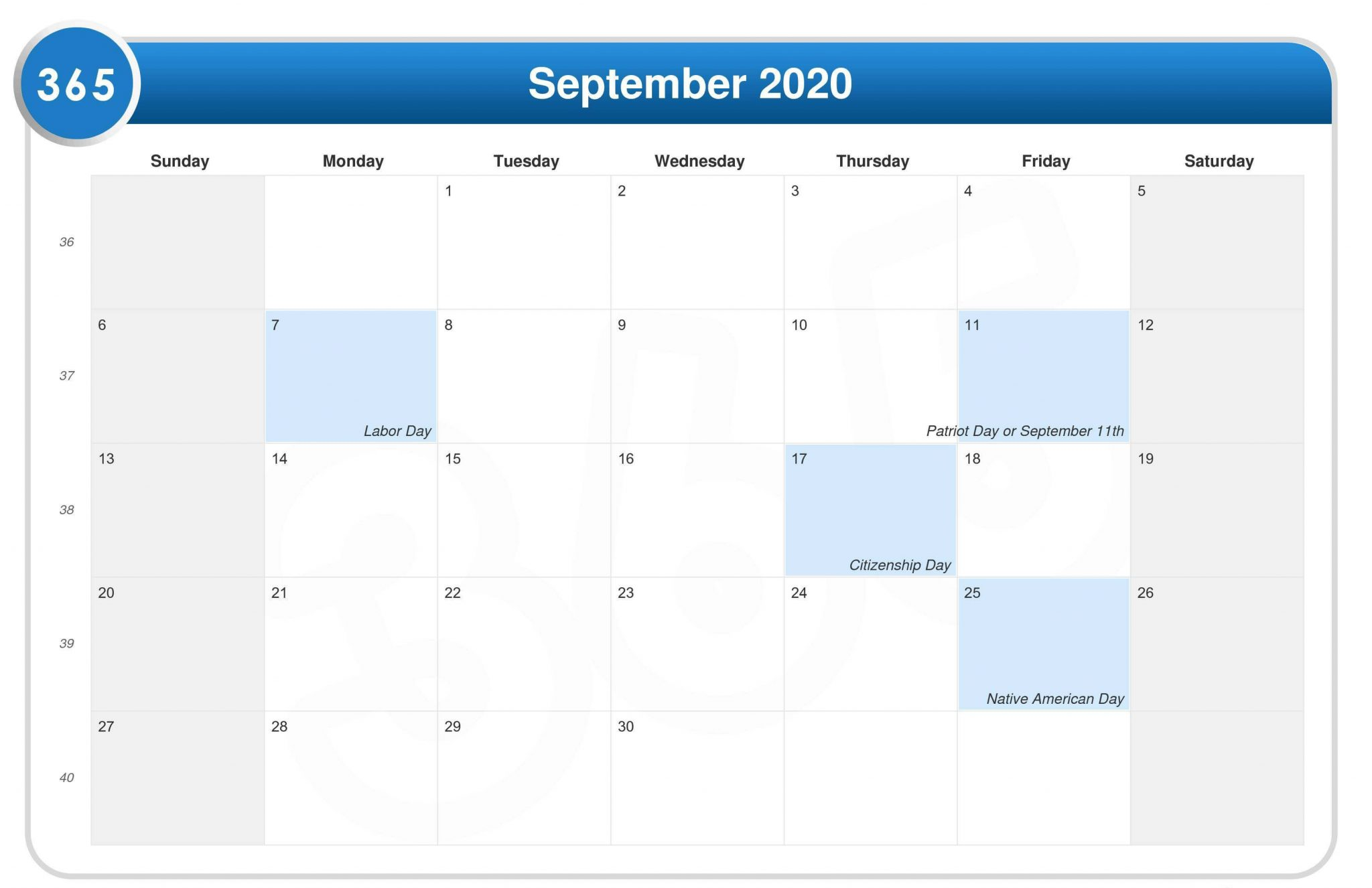 September 2020 Kalender mit Feiertagen
