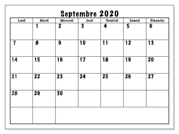 Septembre 2020 Calendrier À Imprimer