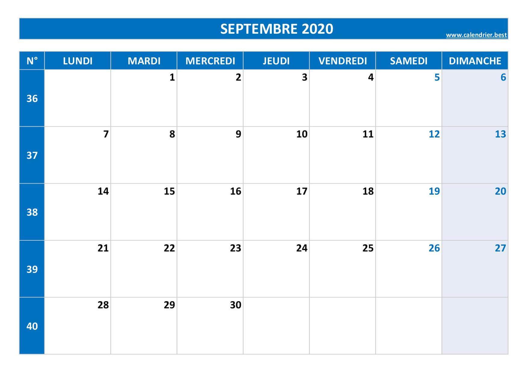 Septembre 2020 Calendrier Imprimable.