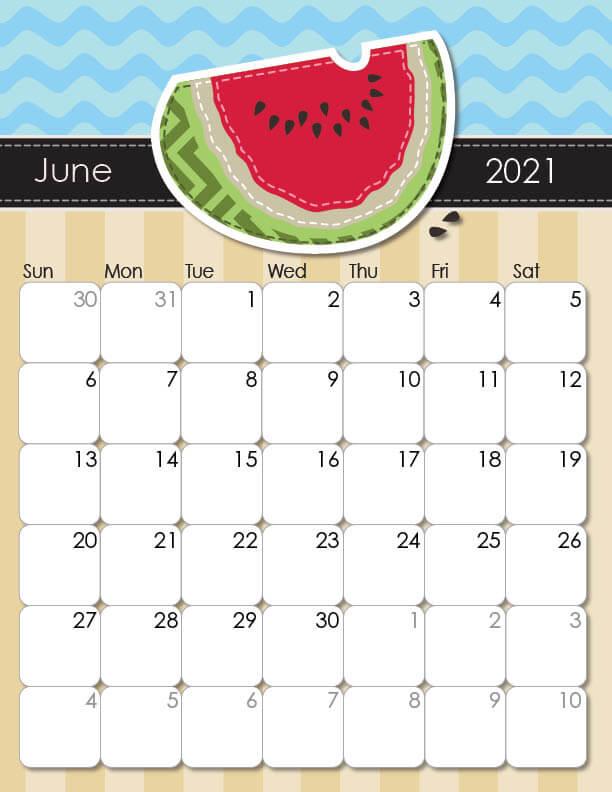 2021 July Calendar Cute