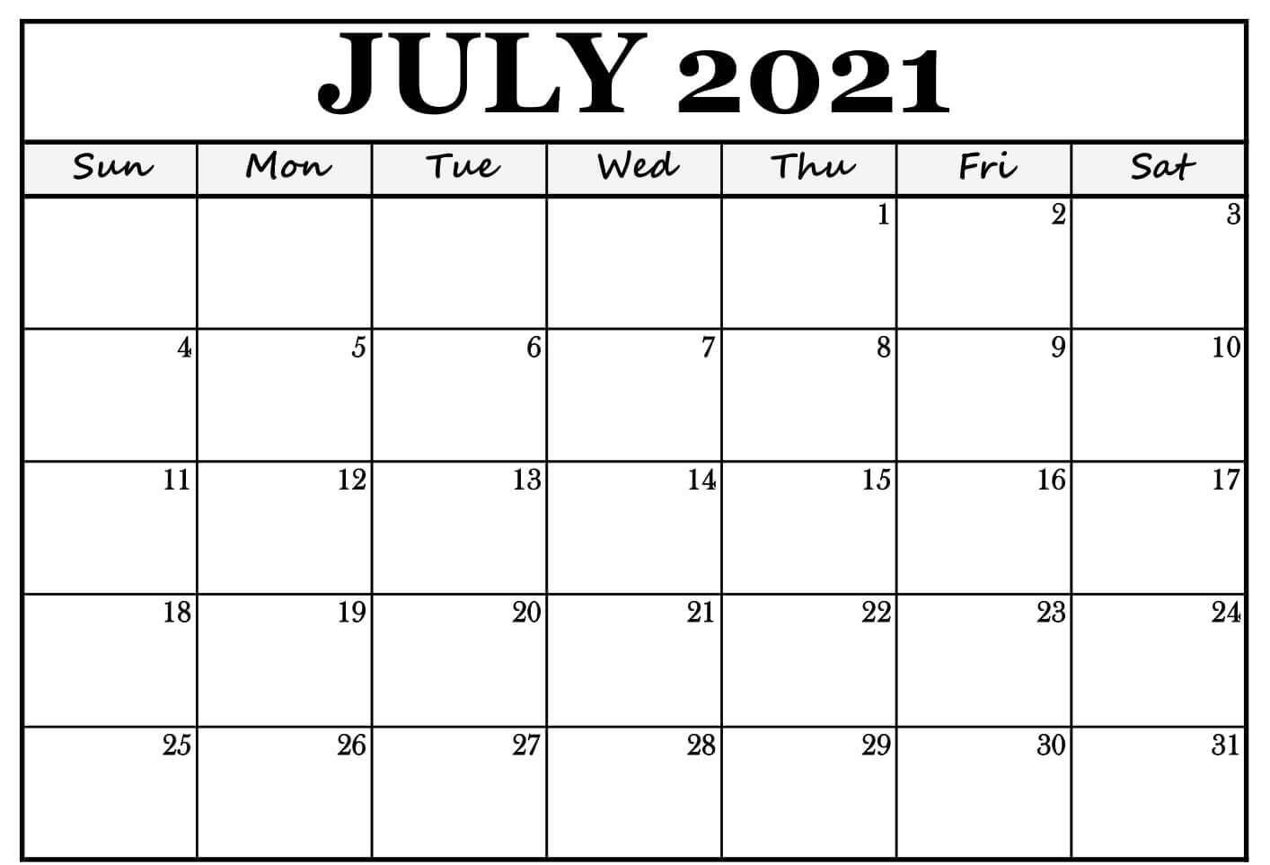 2021 July Calendar Editable