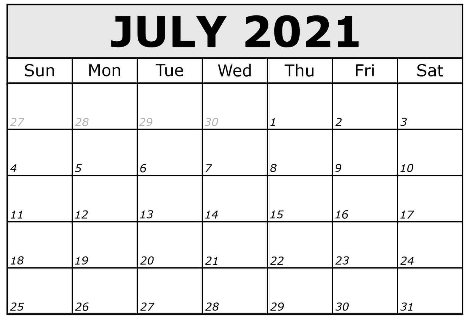 2021 July Printable Calendar