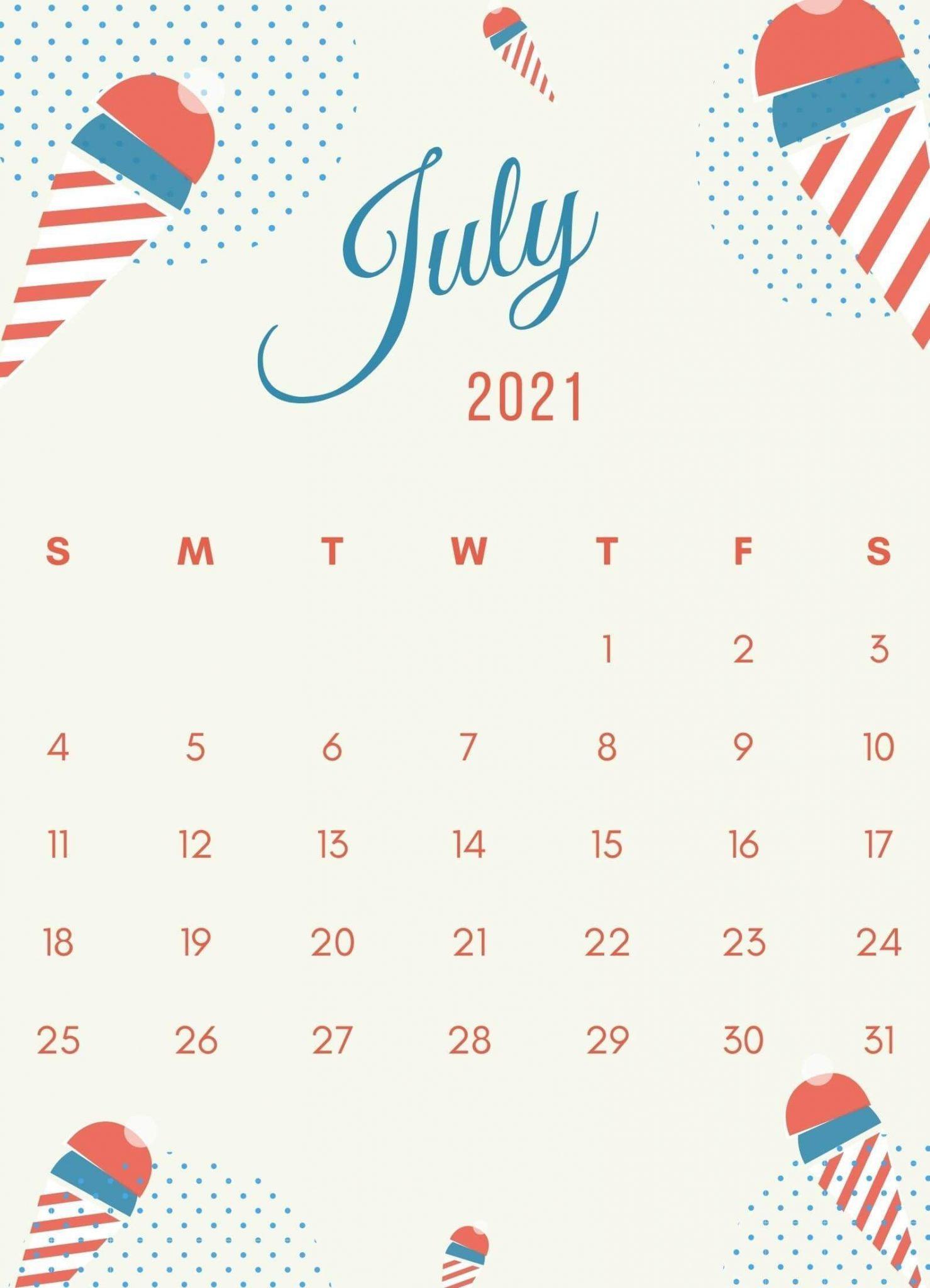 Cute July 2021 Calendar Design