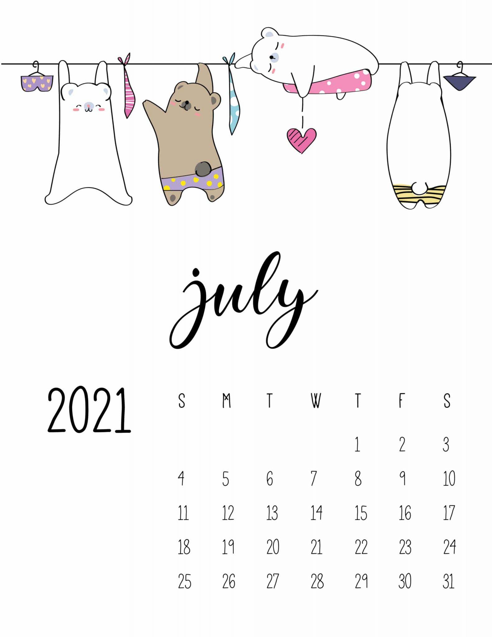 Cute July 2021 Calendar For Kids