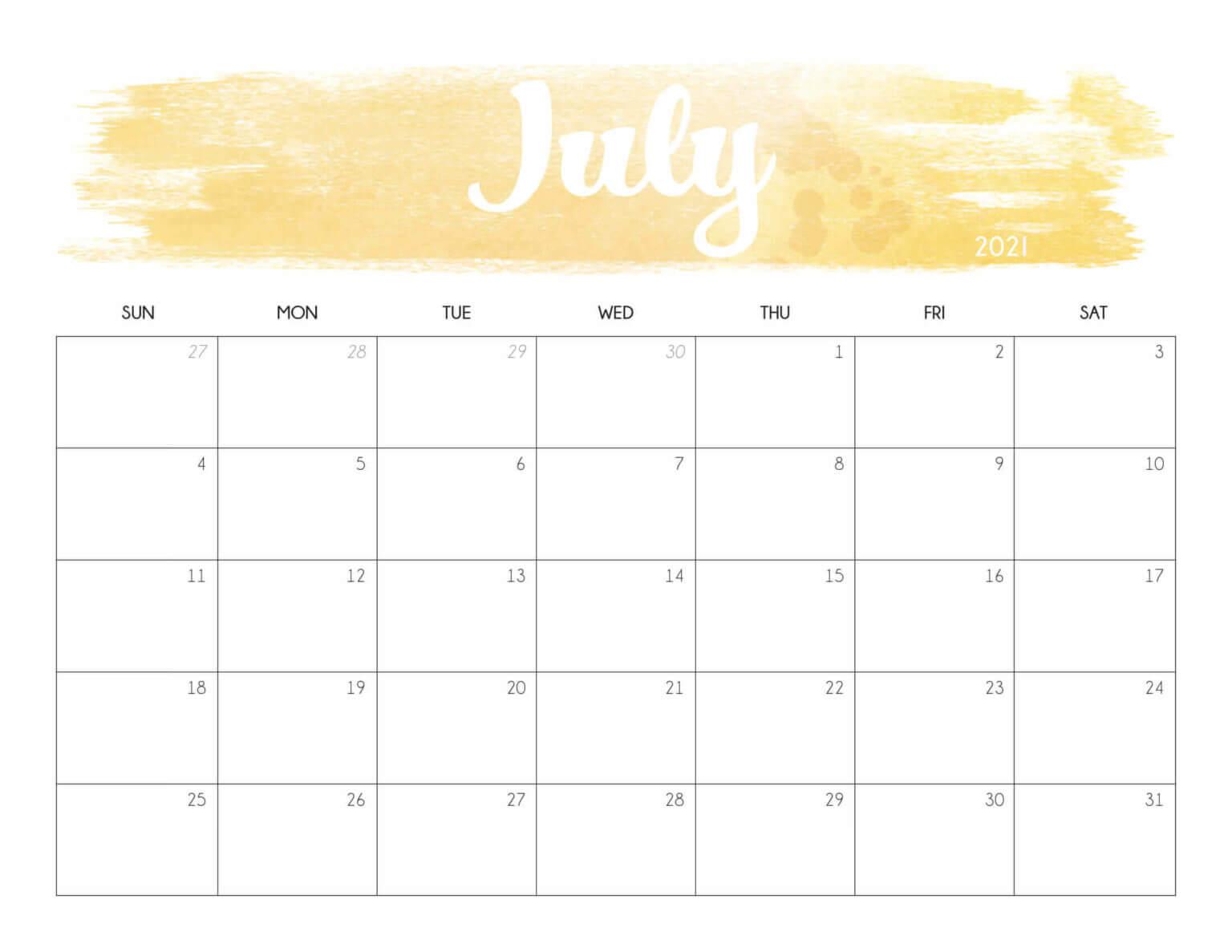 Cute July 2021 Desk Calendar