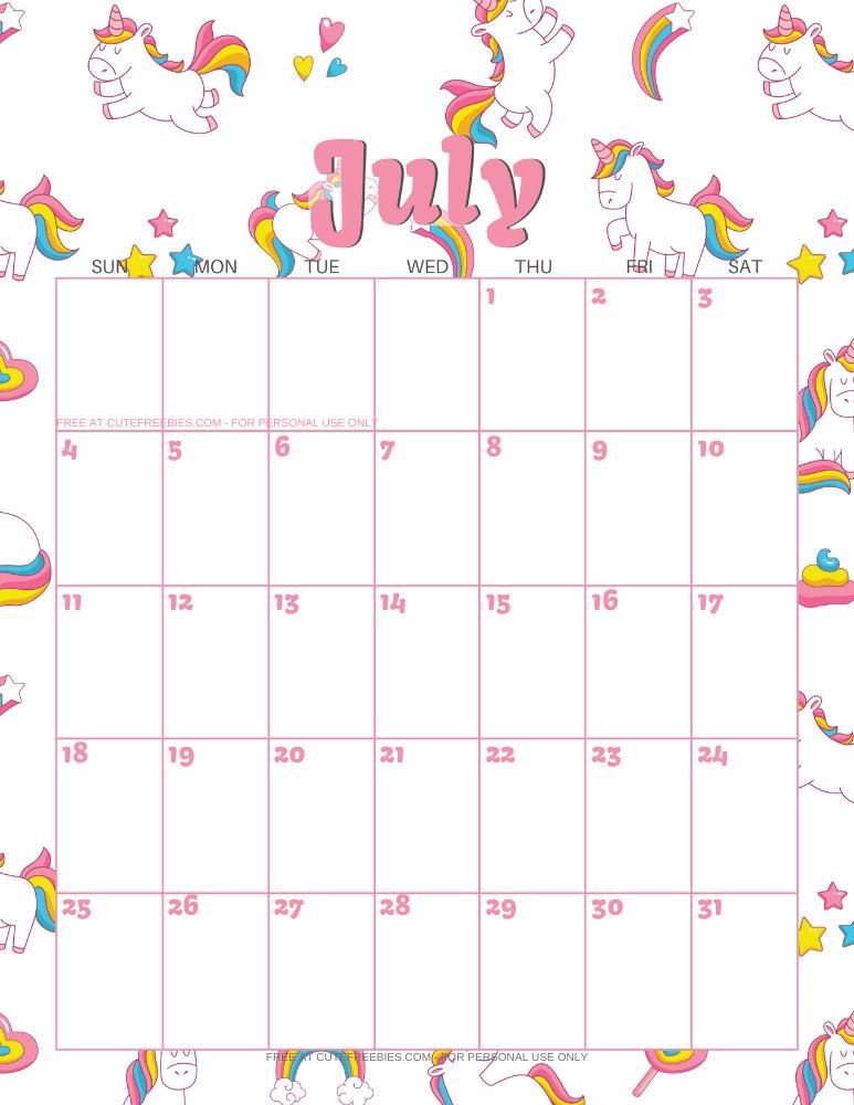 Cute July 2021 Wall Calendar
