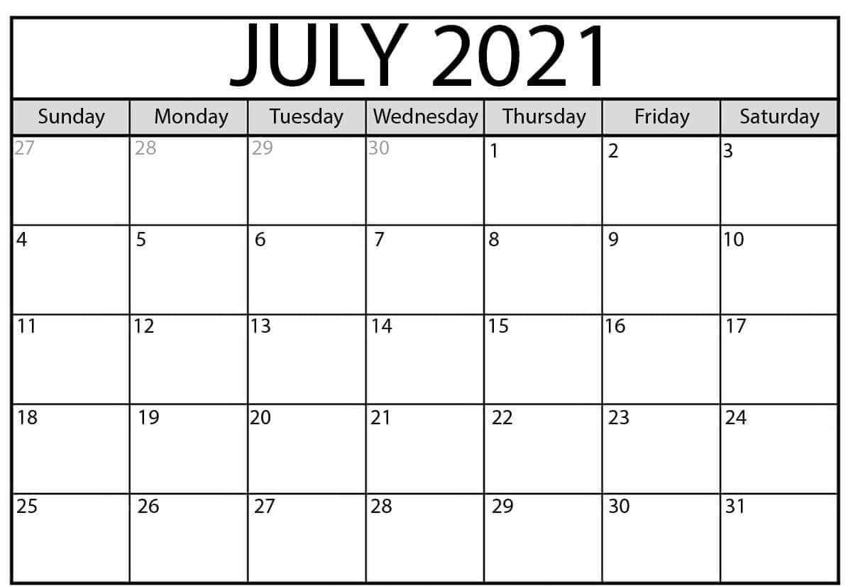 Free 2021 July calendar