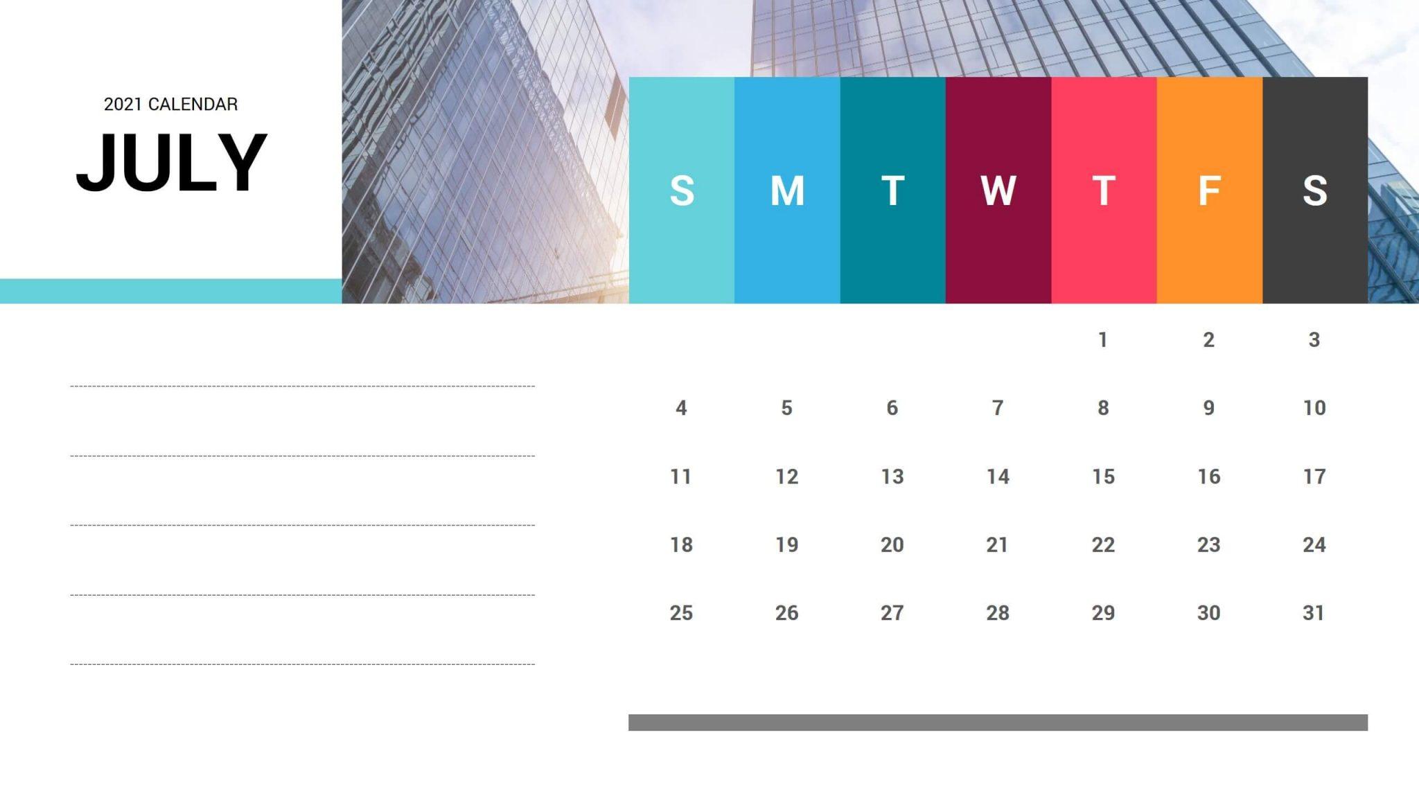 July 2021 Calendar Free PPT Template