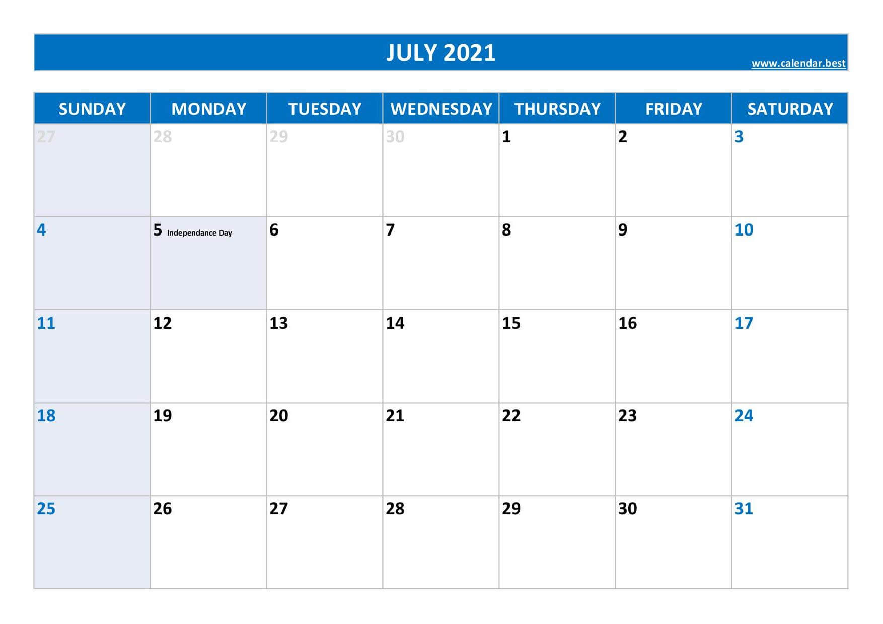 July 2021 calendar to print