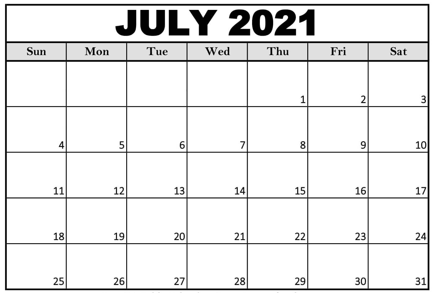 July 2021 printable blank template