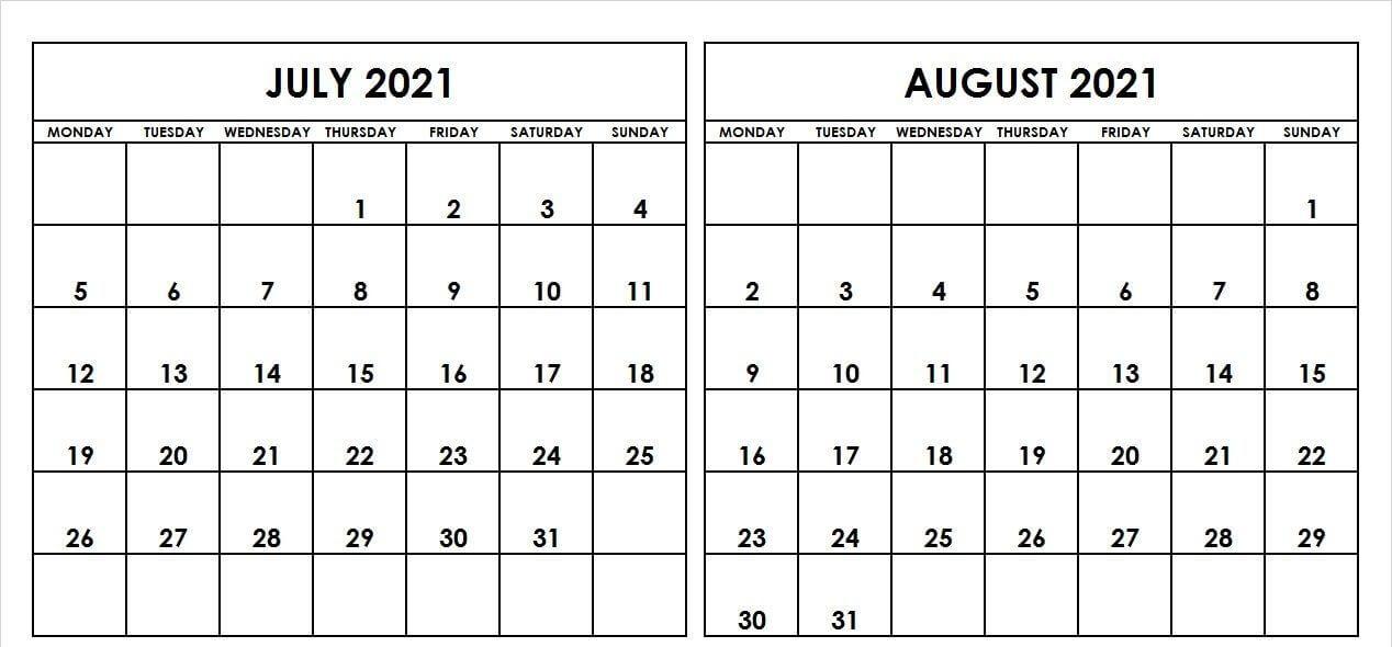 July August 2021 Calendar