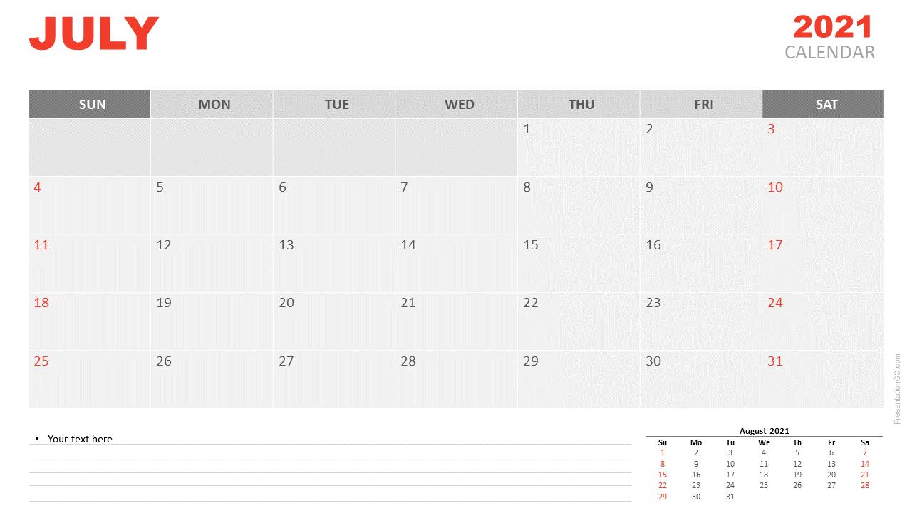 July Desk Calendar 2021
