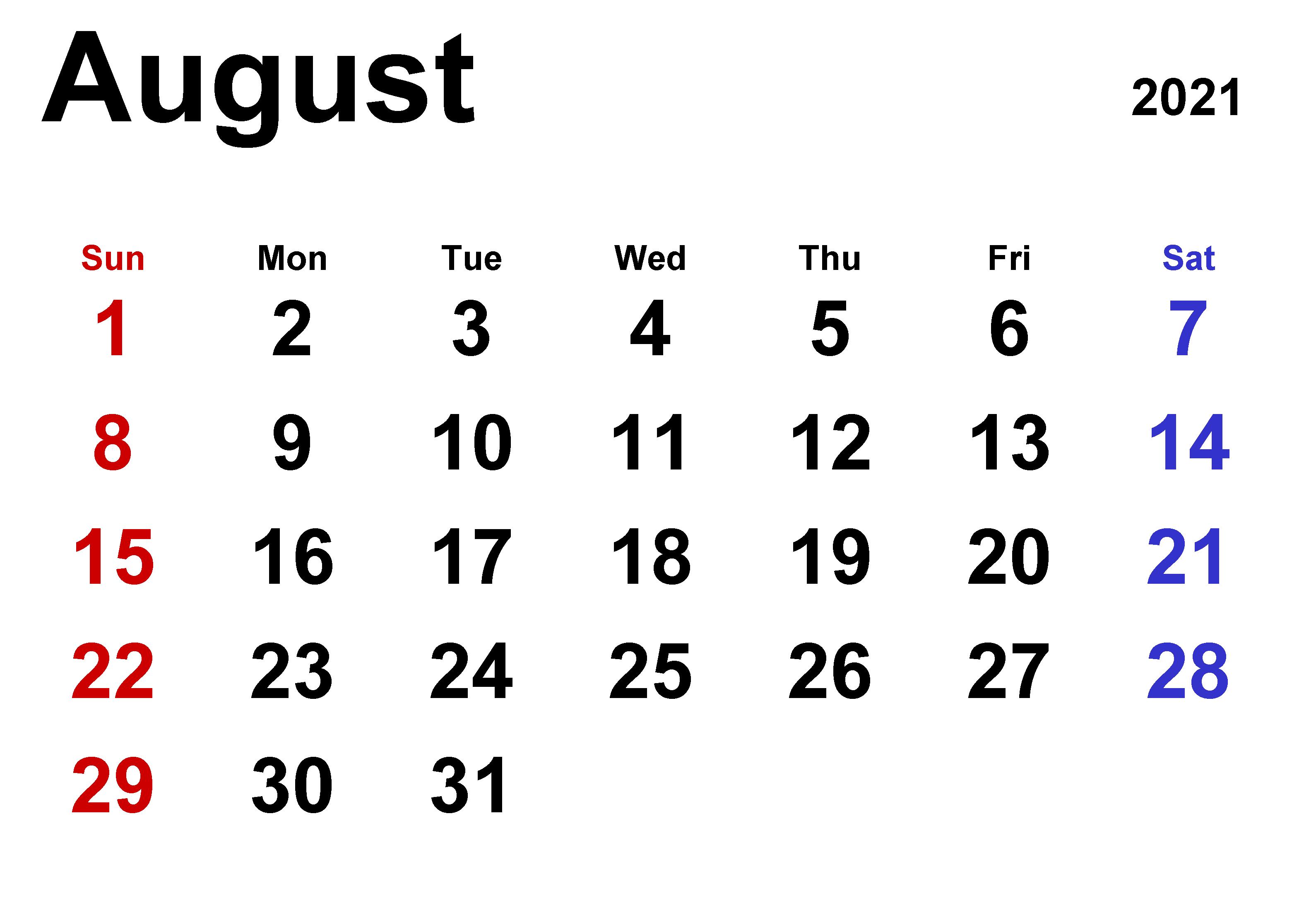 Fillable August 2021 Calendar Printable