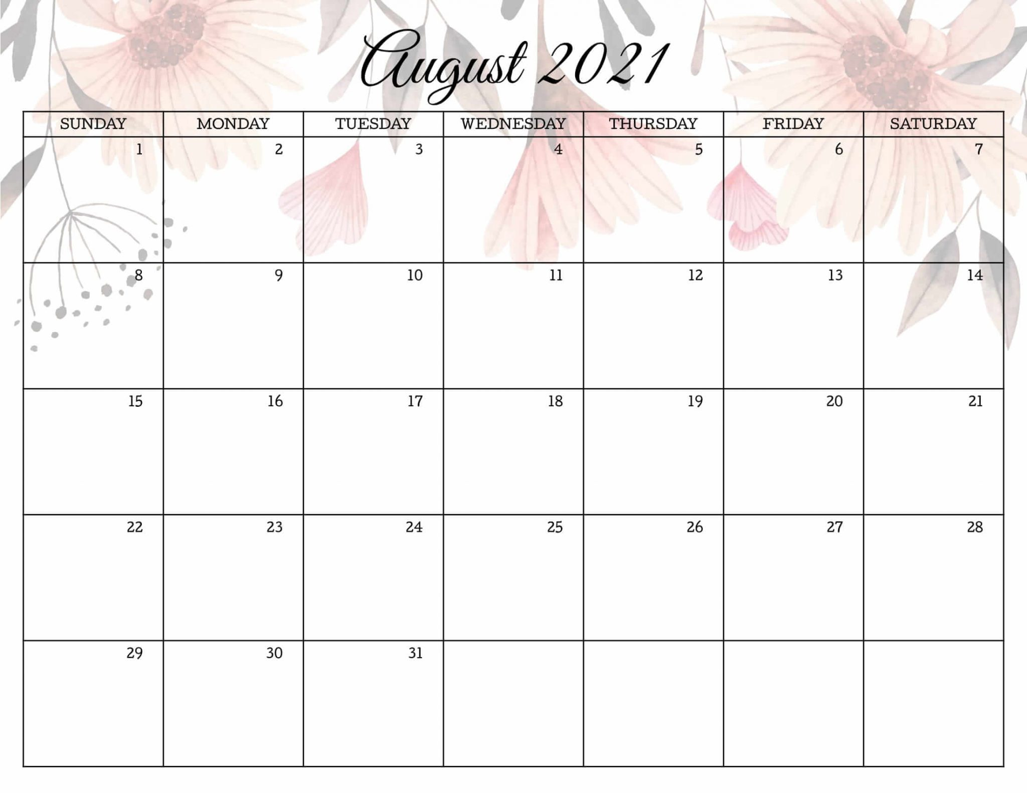 Calendar August 2021 Cute