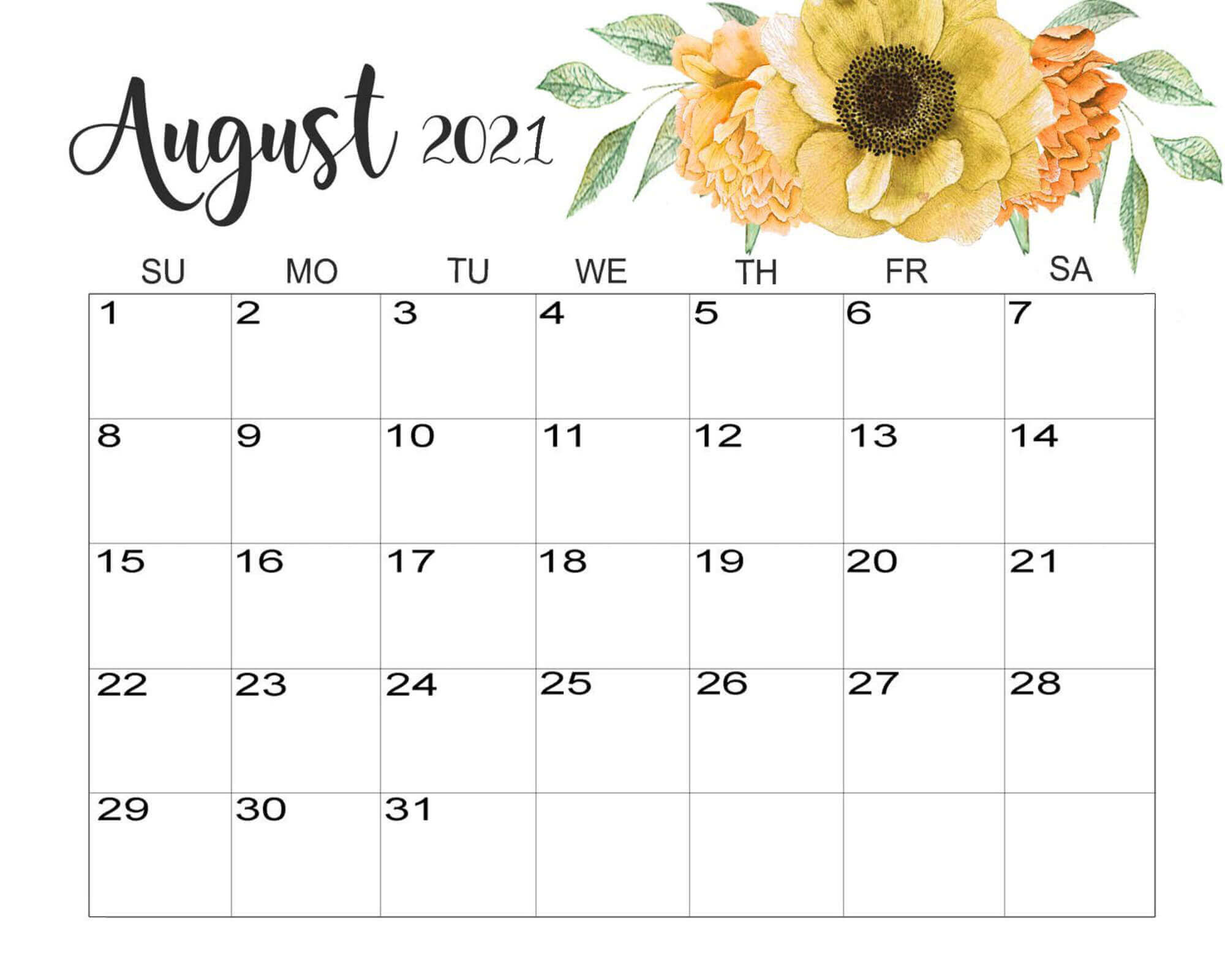 Floral August Calendar 2021 Cute